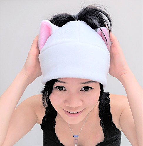 White Cat Ear ponytail Hat Messy bun Toque Beanie Feline Kitty Kitten Fleece Anime Manga Ski Snowboarding Convention Goth Punk Rave Costume Cosplay Halloween cat Christmas Gift