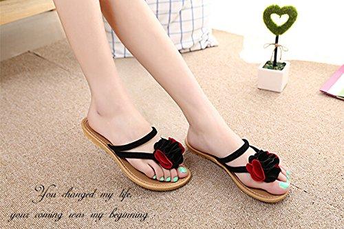 Xiuhong Shop Flores Confort Dulce sandalias planas ocasionales de las mujer sandalias y zapatillas Negro rojo