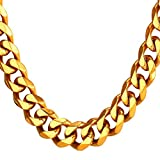 TUOKAY 18K Big Gold Flat Chain 12mm 24' 90s Fashion Hip Hop Chain for Women and Men, Dainty & Sparkling Faux Gold Chain Necklace.