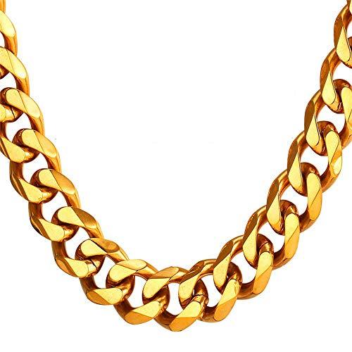 TUOKAY 18K Big Gold Flat Chain 12mm 24