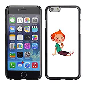 Shell-Star Arte & diseño plástico duro Fundas Cover Cubre Hard Case Cover para Apple iPhone 6 Plus(5.5 inches)( Boy Kid Red Hair Sugar Rush Sweets Candy )