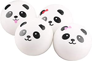 4 Pcs Squishy Panda Buns Pack with Phone Straps, Slow Rising Squishies Panda Soft and Scented Squeeze Panda Ball Stress Relief for Adults Kids Gift Bag Fillers-Great Gift for Christmas