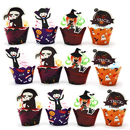 Halloween Cupcake Toppers wrappers,Cake Picks Cupcake Liners,Food Picks for Halloween Party Supply Decorations,45 packs(Vampire, Witch, Skeleton,Black Cat) ()