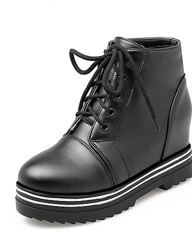 XZZ/ Damen-Stiefel-Kleid-Kunstleder-Keilabsatz-Modische Stiefel-Schwarz / Weiß black-us7.5 / eu38 / uk5.5 / cn38