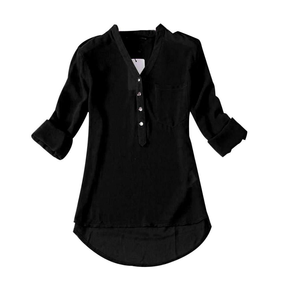 6daec7db419af Luckycat 1PC Mujeres Primavera Verano con Cuello en v Gasa Manga Larga  Camisa Casual Blusa  Amazon.es  Ropa y accesorios