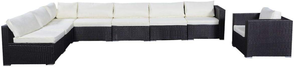 Tangkula Wicker Outdoor Patio Furniture Set Cushioned Garden Lawn Rattan Modern Sectional Sofa Set, 7PCS