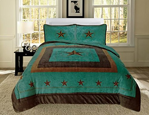 3 Piece COWBOY Western Lone Star King Bed Blanket Cabin Lodge Barb Wire design Pillow Case Super SOFT Borrego Bedding-Choose From Navy, Burgundy Red, Brown Beige Taupe (Turquoise) -
