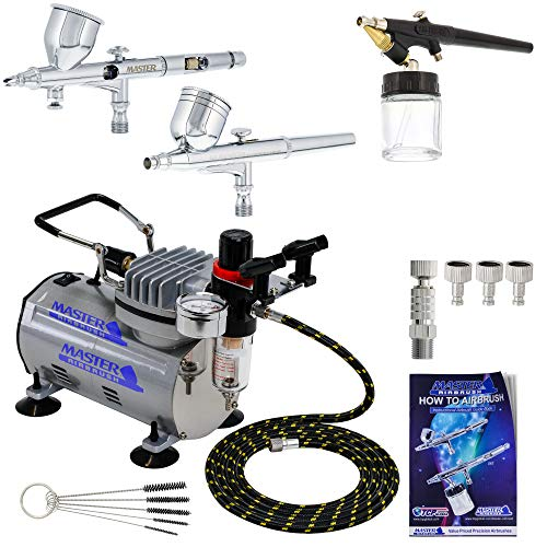 Professional Master Airbrush Fine Detail Control Airbrushing System with 3 Airbrushes G22, G44, E91, Master Air Compressor TC-20 & Air Hose