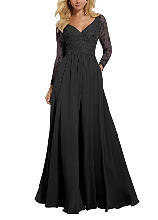 08a93ccfbc V Neck Prom Dress Women Formal Long Sleeve Lace Ruffled Chiffon Mother of Bride  Dresses Black