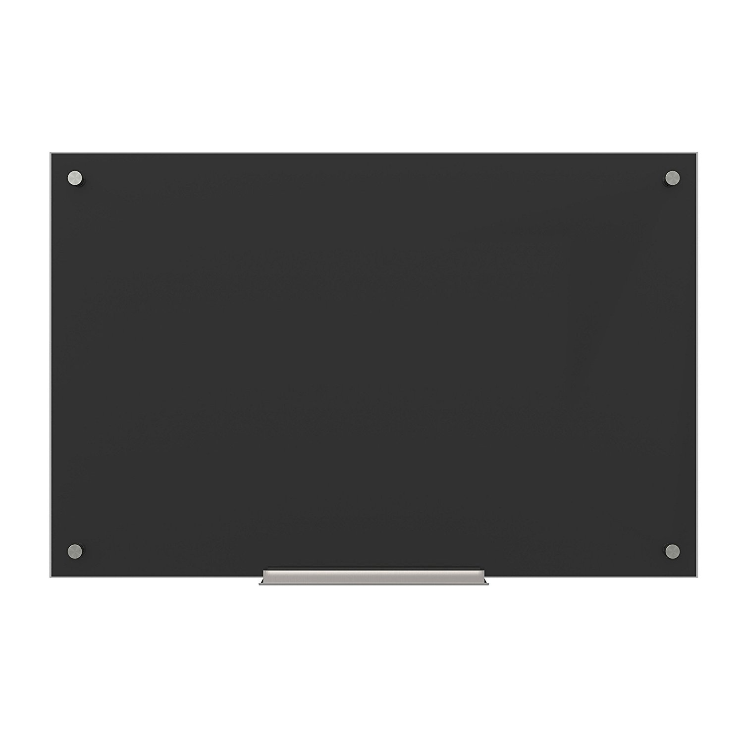 U Brands Glass Dry Erase Board, 35 x 23 Inches, Black Surface, Frameless