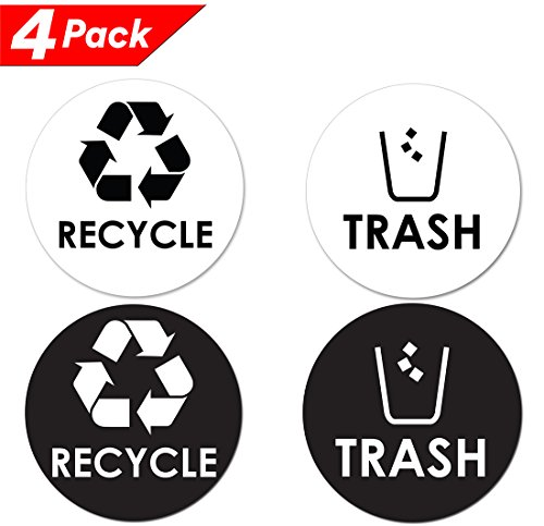 "Recycle Trash Bin Logo Sticker - 4"" x 4"" - Organize & Coordinate Garbage Waste from Recycling - Great for Metal Aluminum Steel or Plastic Trash Cans - Indoor & Outdoor - Use at Home Kitchen & Office"