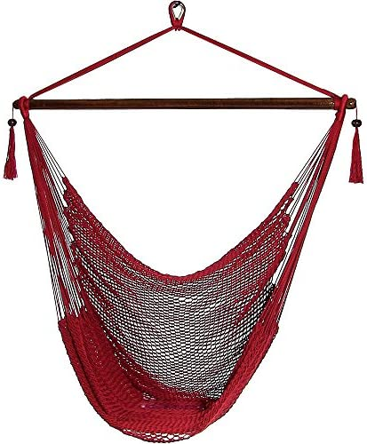 Sunnydaze Hanging Rope Hammock Chair Swing – Caribbean Style Extra Large Hanging Chair for Backyard Patio – Red
