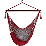 Sunnydaze Hanging Rope Hammock Chair Swing, Extra Large Caribbean, Red – for Indoor or Outdoor Patio, Yard, Porch, and Bedroom