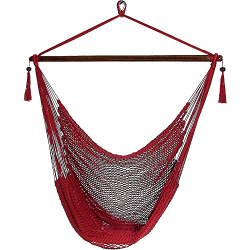 Sunnydaze Hanging Caribbean Extra Large Hammock Chair, Soft-Spun Polyester Rope, 40 Inch Wide Seat, Max Weight: 300 Pounds, Red For Sale