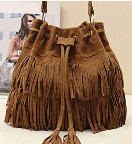 Suede Drawstring Bucket Bag Women Handbag Faux Fringe Tassel Shoulder Crossbody Messenger Bag Boho Style Brown