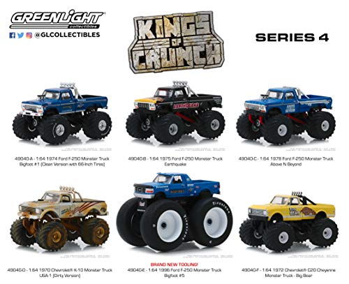 GreenLight 1:64 Kings of Crunch Monster Trucks Series 4 - Includes All 6 Assorted Trucks (49040)