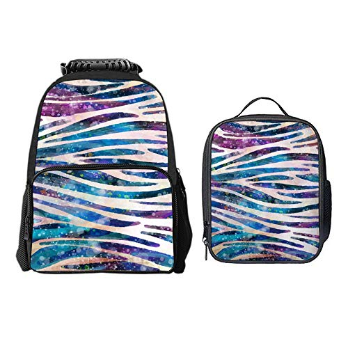 SARA NELL Rainbow Zebra Colorful Animal Skin Tie Dye School Backpack Lunch Bag Set with Padded Straps Student Stylish Unisex Daypack for Boys Girls School Book Bags
