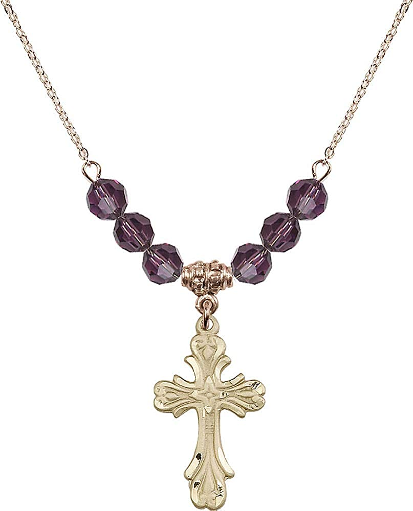 Purple February Birthstone 18-Inch Hamilton Gold Plated Necklace with 6mm Amethyst Birthstone Beads and Cross Charm