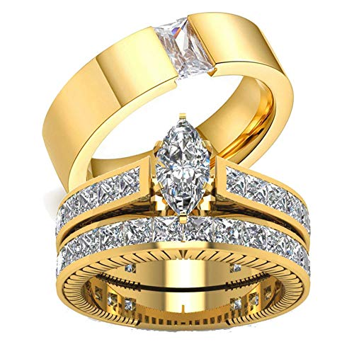 Gy Jewelry His and Hers Wedding Ring Sets Couples Matching Rings Women Yellow Gold Plated Cubic Zirconia Wedding Engagement Ring Bridal Sets & Men's Stainless Steel Wedding Band ()