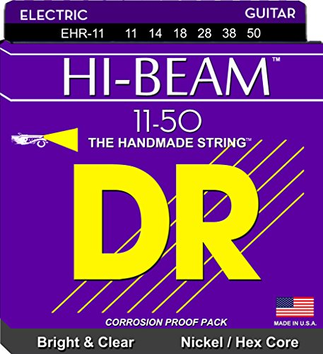 DR Strings Electric Guitar Strings, Hi-Beam, Hex Core 11-50