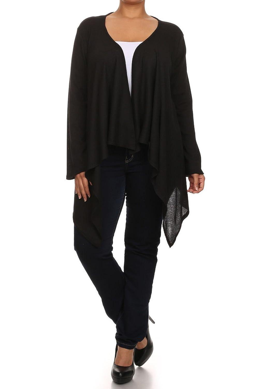 Modern Kiwi Women's Plus Size Lily Solid Drape Front Cardigan