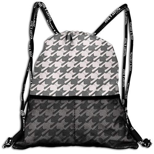 Girls & Boys Drawstring Sack Theft Proof Lightweight Beam Backpack, Traveling Shoulder Bags - Cat Houndstooth Waterproof Backpack Soccer Basketball Bag ()