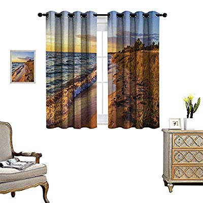 Anyangeight Coastal Window Curtain Fabric Sandy Calm Beach Ocean Waves Tranquil Seashore Setting Sun Drapes for Living Room W55 x L39 Light Blue Light Yellow Light Brown