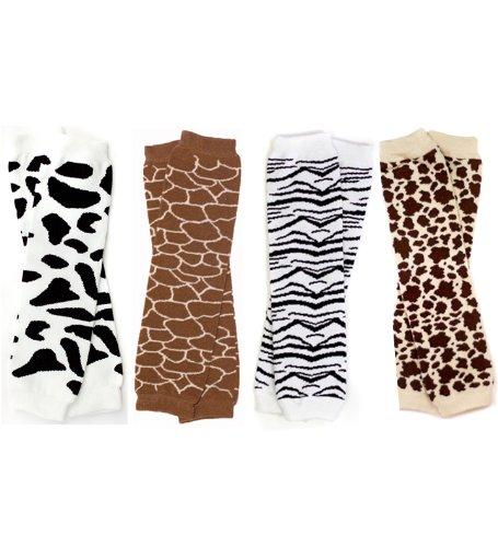 Animal Print Baby Leg Warmers (Set of 4 - Giraffe, Cow, Zebra, Leopard)