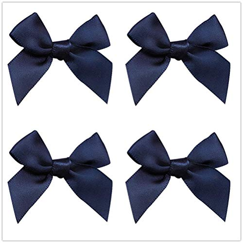 50pcs Mini Satin Ribbon Bows Fabric Ribbon Flowers 42mm x 39mm Appliques DIY Craft for Sewing, Scrapbooking, Wedding, Christmas Gift Warpping (Navy) ()