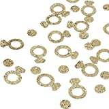 Andaz Press Real Glitter Confetti Gold Glitter Diamond Ring, Paper Party Confetti 100-Pack, Proposal Ideas, Table Scatter Die Cut Outs, Bridal Shower, Bachelorette Hen Cupcake Topper Decor