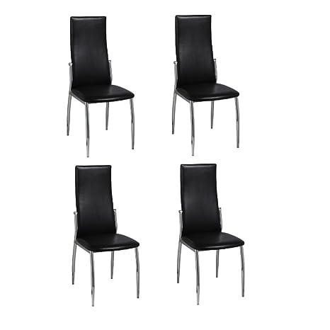 vidaXL 2x Sillas de Comedor de Cuero Artificial Negro y Patas de Metal Cromado