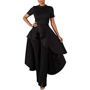 01c8a80f3d6b Annystore High Low Tops for Women - Ruffle Short Sleeve Bodycon Peplum Shirt  Dresses