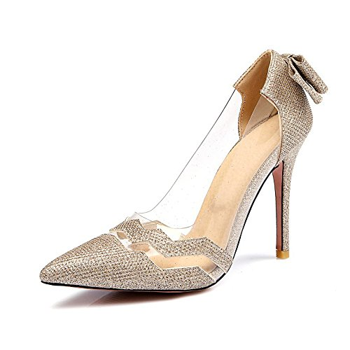 High Heel Women's with Bowknot Sandals Eclimb Shoes Derss Pumps Gold ZIwFx