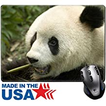 "MSD Natural Rubber Mouse Pad/Mat with Stitched Edges 9.8"" x 7.9"" IMAGE ID: 4876112 close up eating big panda photo"