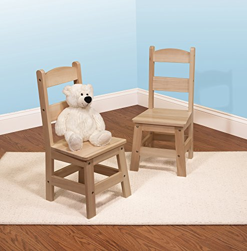 "Melissa & Doug Solid Wood Chairs, Chairs for Kids, Light-Finish Furniture for a Playroom (Durable Construction, Set of 2, 28"" H x 15.2"" W x 4"" L)"