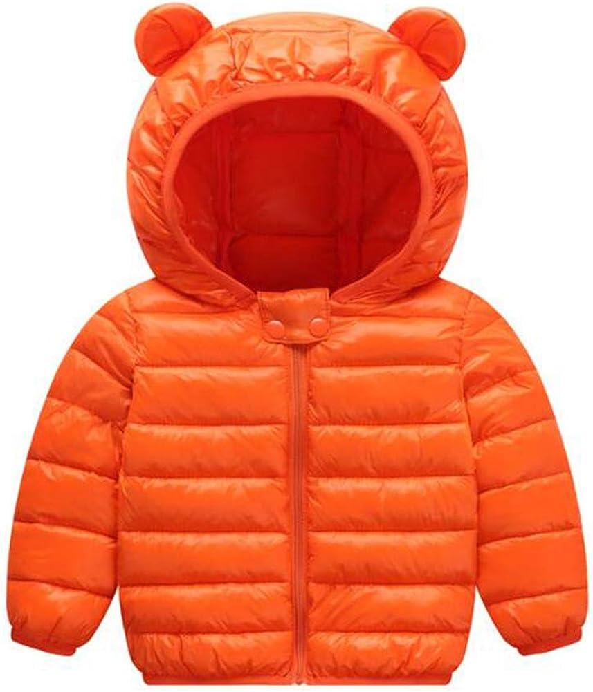 Baby Boys Girl Hoodie Coats Autumn Winter Warm Jacket Outwear Cartoon Print Cute Ears Hooded Windproof Snowsuit Zipper Thicken Down Clothes Tops (0-3 Years)