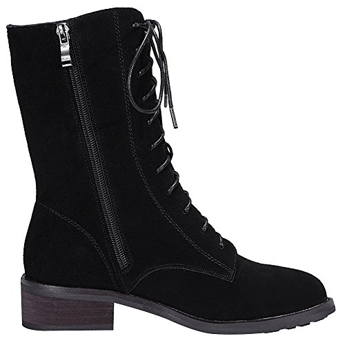 Boots Leather Casual Zip Women's rismart Lace Chukka Mid Calf Black Up Winter nv6gWCU