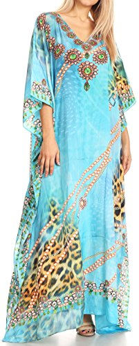 Sakkas P39   Anahi Flowy Design V Neck Long Caftan DressCover up with Rhinestone   17169 TurqOrange   OS