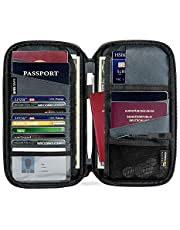 tomtoc Family Passport Holder with a Sim Card Holder and Eject Pin, RFID Blocking Travel Wallet Waterproof Ticket Holder Document Organizer with Chain Strap, Up to 4 Passports 11 Credit Cards