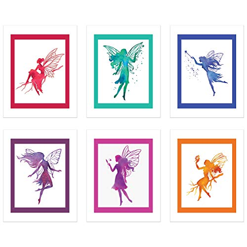 "Fairy Art Prints – Set of Six (6) Prints – Size 8""x10"" – Unframed Prints – Matte Finish – Blue Fairy, Red Fairy, Pink Fairy, Purple Fairy, Orange Fairy, Teal - Orange Finish Matte"