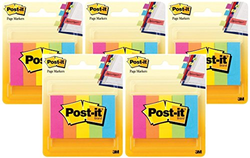 Post-it Page Markers, 1/2-inch x 1-3/4 Inches, Assorted Fluorescent Colors, Total 1250 Page Markers (5 X 250 Count)