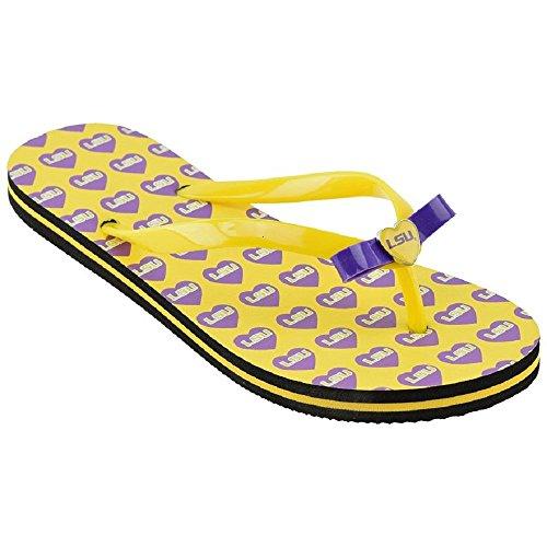 College Womens Heart Flip Flop Sandals Louisiana State University Tigers Lsu Yellow / Purple Ji1w7lI9D