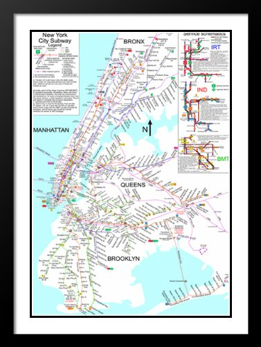 Framed New York Subway Map.Amazon Com New York City Subway Map 20x23 Framed And Double Matted