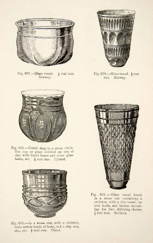 1889 Wood Engraving Glass Vessel Clay Urn Stone Cist Stone Circle Bones Beads - Original In-Text Wood Engraving from PeriodPaper LLC-Collectible Original Print Archive