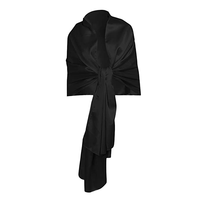 iEFiEL Women Versatile Bridal Evening Dress Satin Shawl Elegant Wrap Scarf Black One Size