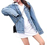 MuNiSa Women's Oversize Boyfriend Denim Jacket Long Sleeve Jean Coat with Pocket