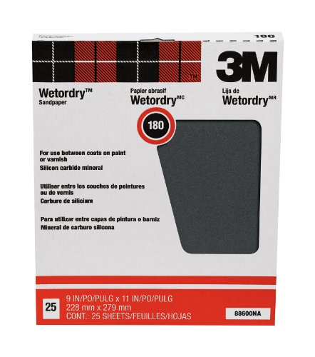 (3M Wet or dry Sanding Sheets, 180C-Grit, 9-Inch by 11-Inch, 25-Pack)