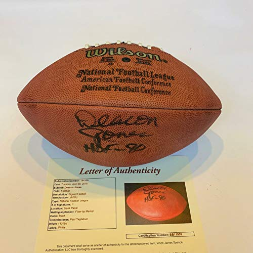 Deacon Jones Hall Of Fame 1980 Signed Authentic Wilson NFL Football With JSA COA ()