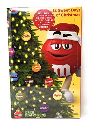 Holiday Advent Calendar Chocolates for Christmas, 12 Chocolate Days til Christmas, Countdown Chocolate Calendar for Kids, Season Treats, Gift Ideas, Sweet Presents (12 Days Mars Favorites)