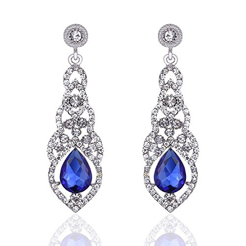 - Clear/Gold/Champagne/Blue Crystal Unique Design Flower Teardrop Dangle Earrings for Bridemaid